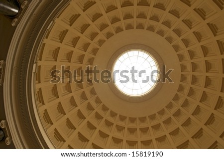 The interior of the dome of the National Gallery of Art in Washington, DC. - stock photo