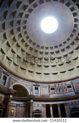 The interior of the famous roman temple Pantheon, Rome, Italy.