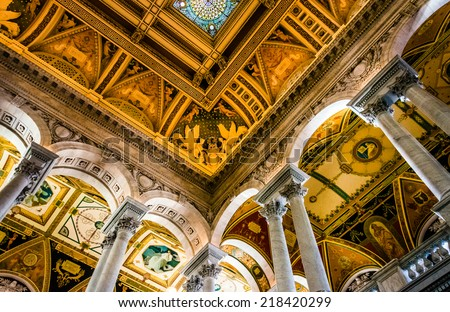 The interior of the Library of Congress, in Washington, DC. - stock photo