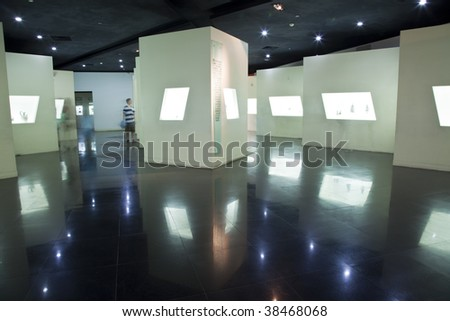 the interior of the modern building with the  photo frame on wall . - stock photo