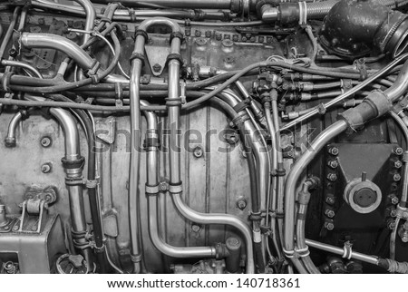 the interior of the old jet engine close-up - stock photo