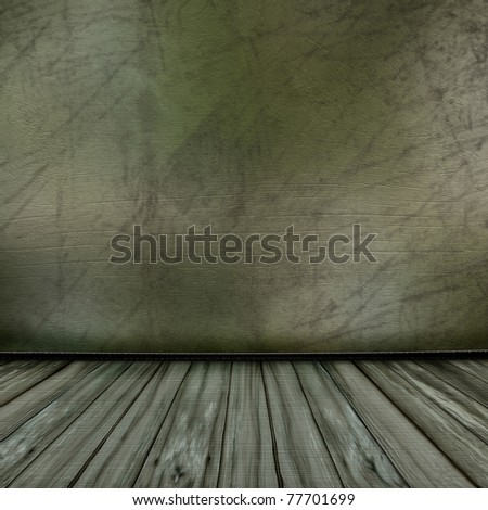 The interior of the old wooden house - stock photo