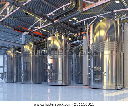 The interior of the plant. - stock photo