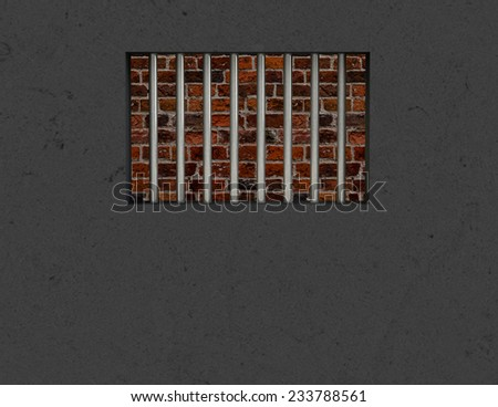 The interior of the prison cell, barred window - stock photo