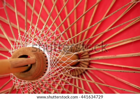 The internal structure of Lanna umbrella, the handmade ancient umbrella of Chiang Mai, the north of Thailand - stock photo