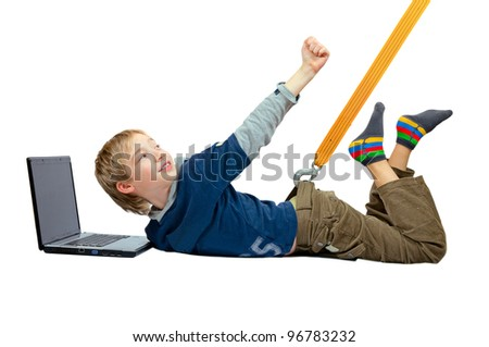 The Internet dependence. The sling pulls the boy from the laptop - stock photo