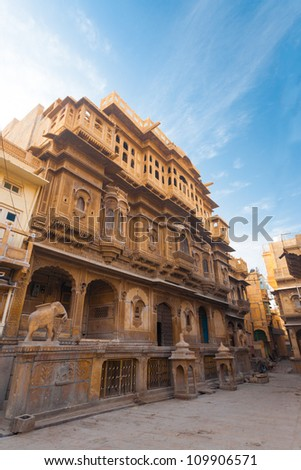 The intricately carved facade of the Nathmal Ki Haveli home, former residence of the prime minister of Jaisalmer and major tourist attraction in Rajasthan, India copy space