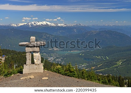 The Inukshuk at Whistler. Inukshuk are human-like figures built with rocks and stones. They serve as a marker and have special significance to the First Nation. - stock photo