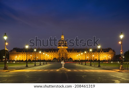 The Invalides Palace at sunset, Paris