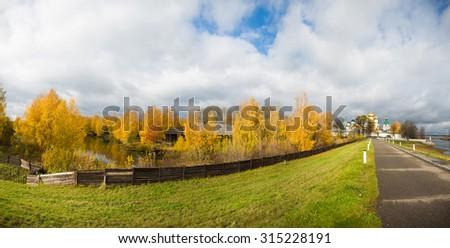 The Ipatiev Monastery in autumn panorama, Kostroma, Russia - stock photo