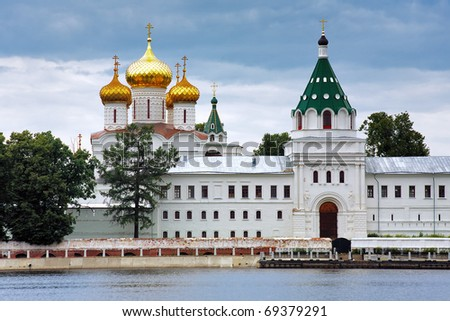 The Ipatiev Monastery on the bank of the Kostroma river, Russia - stock photo