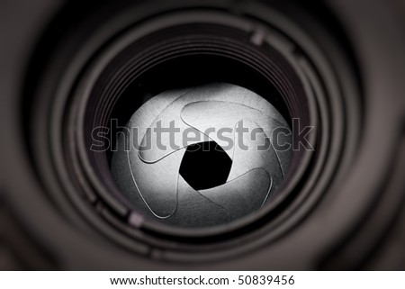 The iris diaphragm of old camera lens, macro - stock photo