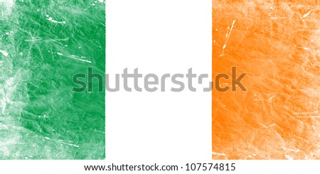 The irish flag painted in vintage style