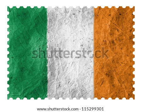 The irish flag painted on paper postage  stamp