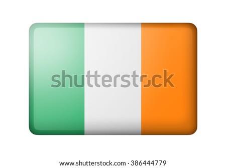 The irish flag. Rectangular matte icon. Isolated on white background. - stock photo