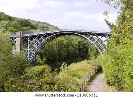 The Iron Bridge over the River Severn, Ironbridge Gorge, Shropshire, England. - stock photo