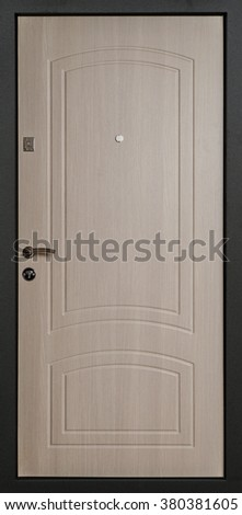 The iron door with a wooden pattern.