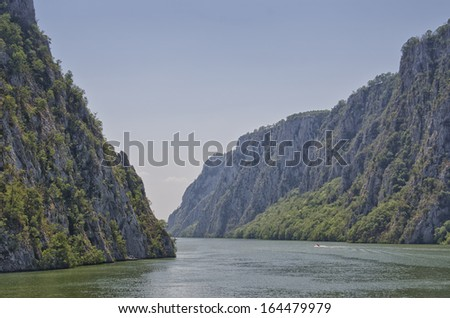 The Iron Gates is a gorge on the Danube River. The main feature and attraction of the Djerdap National Park, Serbia. - stock photo