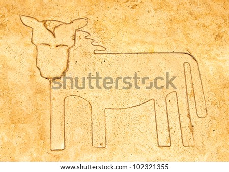 The Iron pattern line of horse on cement floor - stock photo