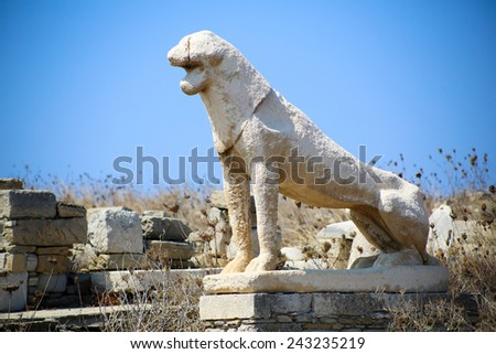 The island of Delos: an important archaeological site in Greece - stock photo