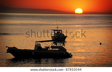 The island of Rhodes - sunset - stock photo