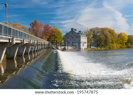 The Island of the Mills in Terrebonne during foliage, Quebec, Canada - stock photo