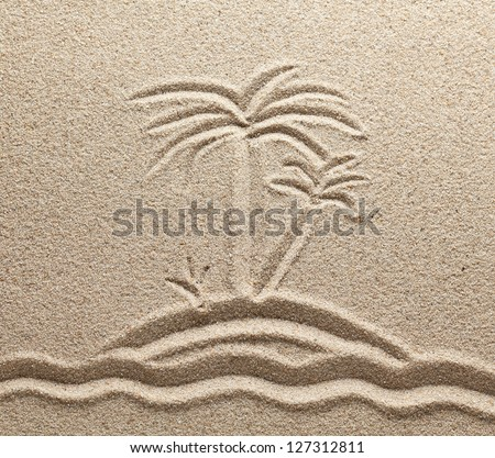The island with palm trees in the sea is drawn on sand - stock photo