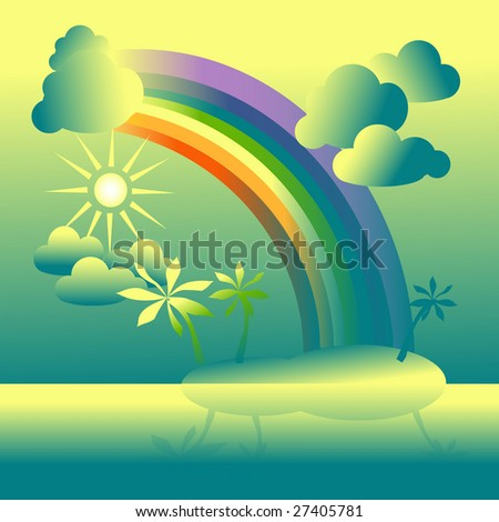 The island with palm trees, is reflected in water,  The yellow sky with the sun, a rainbow and clouds,  Illustration