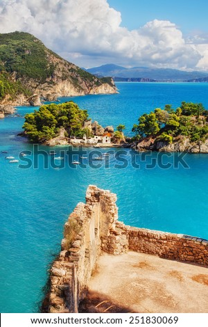 The Islet of Virgin Mary, Parga, Greece as seen from the castle walls - stock photo