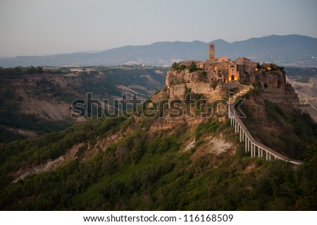 The isolated ancient town of Civita di Bagnoregio in central Italy - stock photo