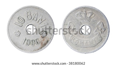 the isolated both sides of nickel romanian coin ten bani of 1906 - stock photo