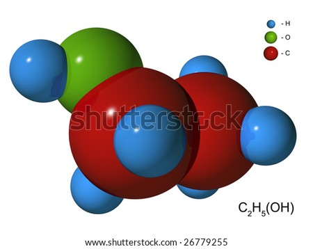 The isolated 3D model of ethyl spirit on a white background - stock photo