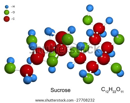 The isolated 3D model of sucrose (sugar) on a white background - stock photo
