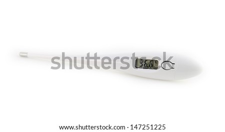 The isolated digital thermometer with a temperature of 36,6