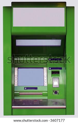 The isolated face-to-face photo of a cash dispense - stock photo