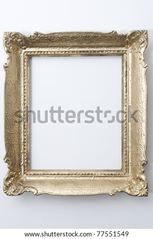 the isolated gold old frame