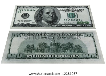 The isolated image of paper banknotes of US dollars