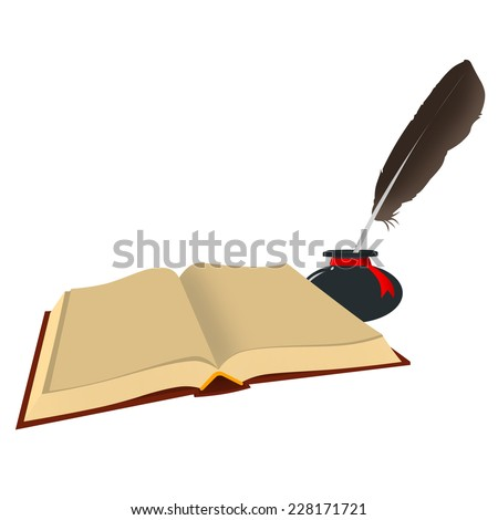 The isolated image of the old open book with empty sheets and inkwells with a feather on a white background.