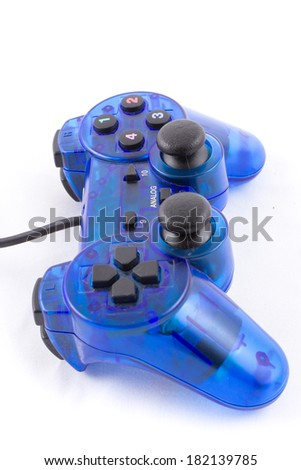 the isolated of the blue joystick for controller and play video game on white background