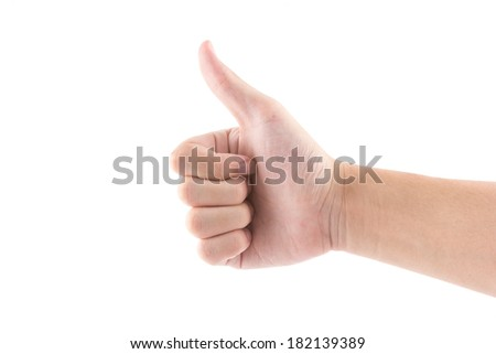 the isolated of the hand with thumb symbol is like on white background