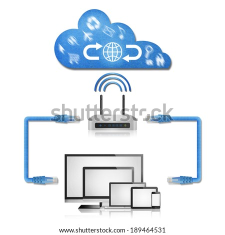 the isolated paper cut of network diagram in home from computer with wifi router to cloud server for use to internet - stock photo