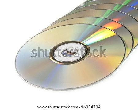 The isolated pile of disks on the white - stock photo