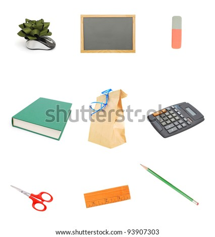 the isolated school stuffs - stock photo