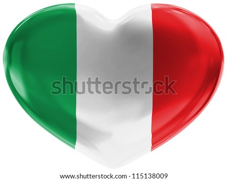The Italian flag painted on 3d heart symbol on white background - stock photo