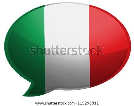 The Italian flag painted on speaking bubble with reflection - stock photo