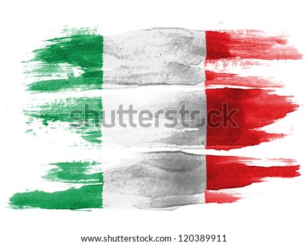 The Italian flag painted on white paper with watercolor
