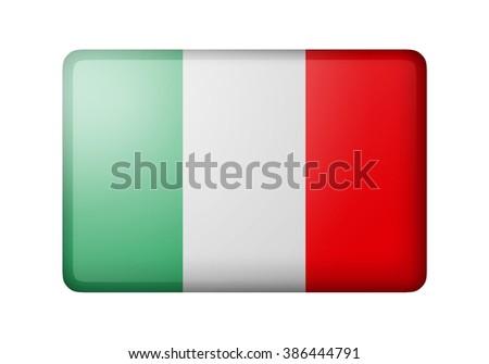 The Italian flag. Rectangular matte icon. Isolated on white background. - stock photo