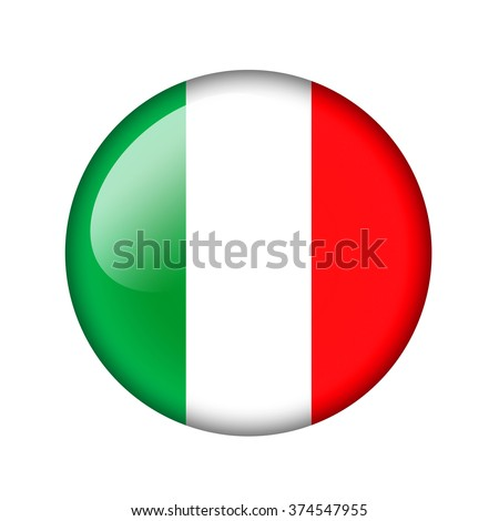 The Italian flag. Round glossy icon. Isolated on white background. - stock photo