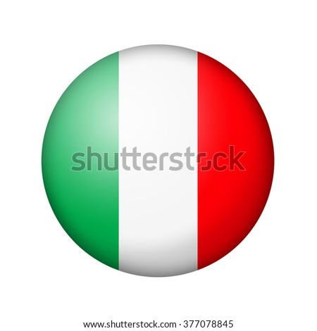 The Italian flag. Round matte icon. Isolated on white background. - stock photo