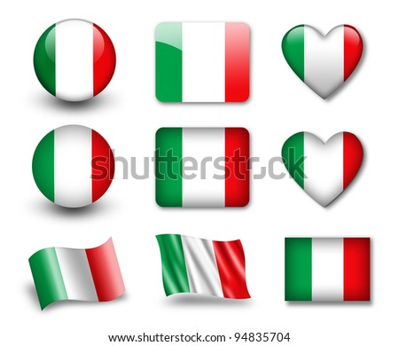 The Italian flag - set of icons and flags. glossy and matte on a white background. - stock photo